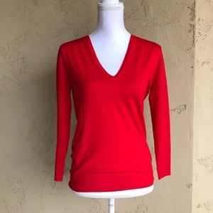 J. Crew Red Sweater Merino Wool Size XS